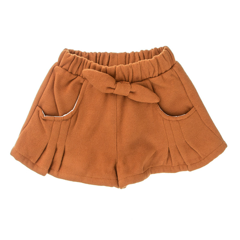 Autumn and winter new girls pants kids thick woolen solid color outer pants children's clothes