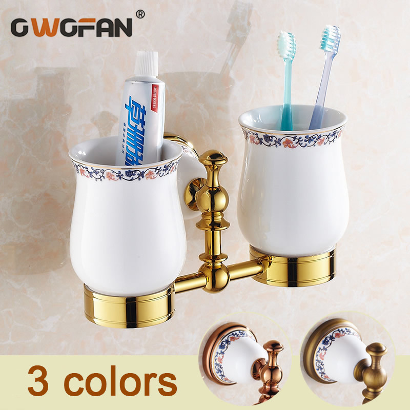 Cup & Tumbler Holders Antique Brass Ceramic Cup Bathroom Accessories Gold Double Tumbler Holder Rose Gold Toothbrush Cup Holders image