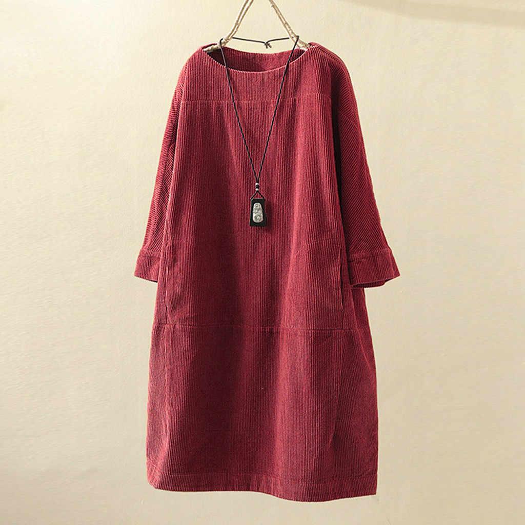 حجم كبير فستان نسائي غير رسمي فضفاض جيوب خمر سروال قصير بلون فستان طويل الأكمام الصلبة أنيق ملابس يومية المرأة