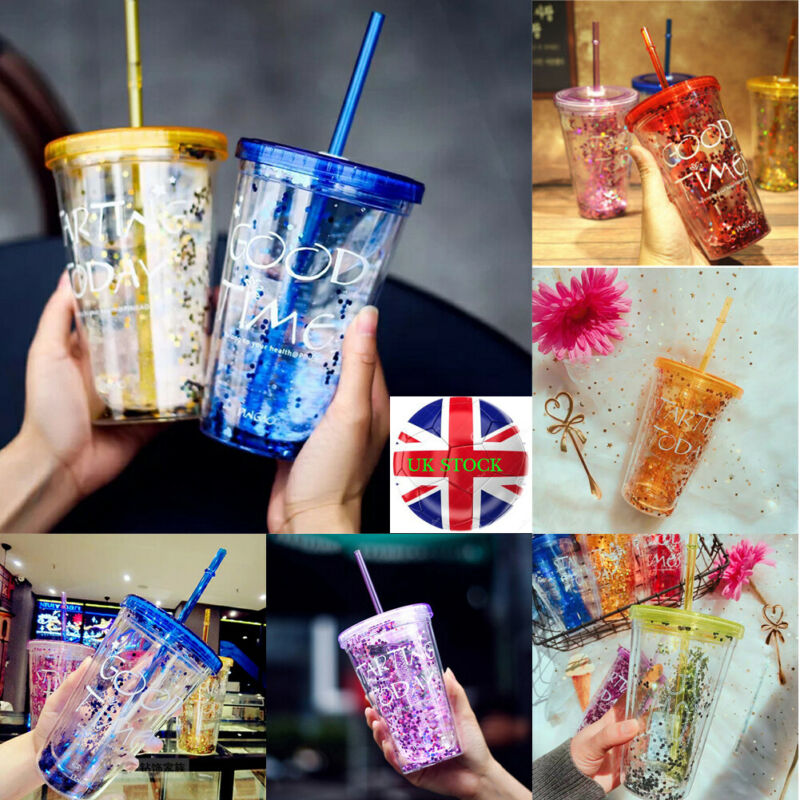 UK 450ML Plastic Tumble & Straw For Smoothie Juice Iced Coffee Free Travel Cup Summer Portable Outdoor Sports Cup