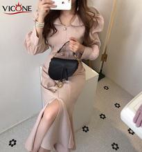 Vicone женское весеннее винтажное платье с поясом вечерние платья