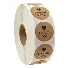 1 Inch Round Natural Kraft Thank You Stickers 500 Labels Per Roll Cute for Cake Packaging Seal Handmade Sticker