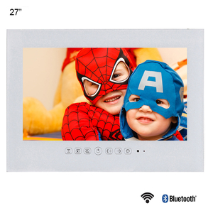 Souria 27 pouces 1080P Full HD WiFi Android 9.0 Smart Internet étanche salle de bain TV noir/blanc IP66 panneau de verre