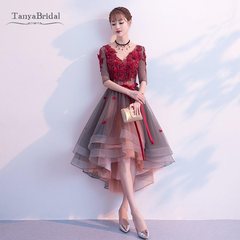New 2020 Flower Prom Dresses Burgundy Color V-Neck Elegant Pear Short Front Long Back High Low Party Dress