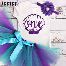 Baby Girl One Year Dress Mermaid 1st Birthday Party Outfit Kid Girl Dress Summer Clothes Tulle Mesh Tutu Outfit 3pcs Clothing