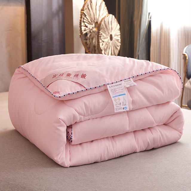 Silk quilt / quilt for summer and winter king queen twin size bedding handmade white/pink/gray/green/orange Pure color students