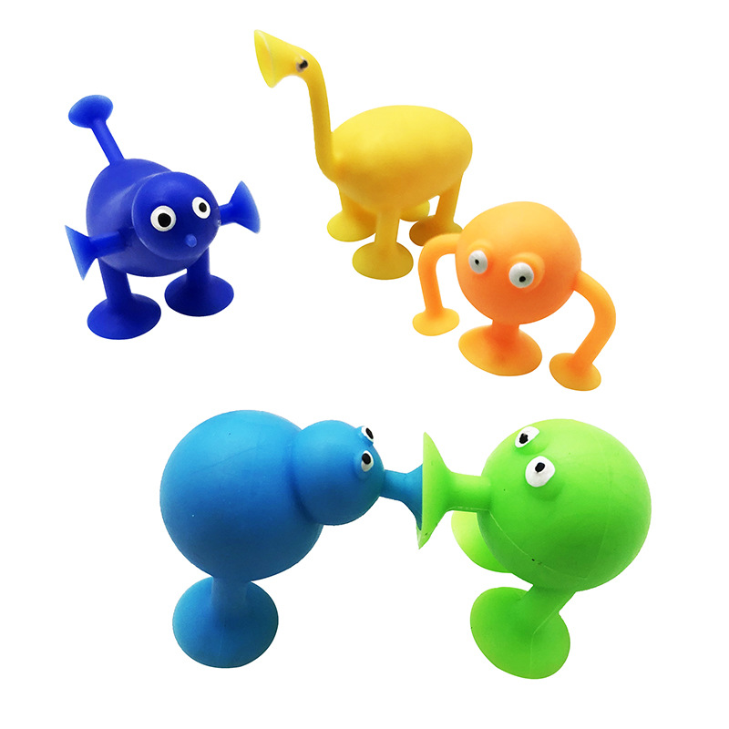 5pcs Mini Sucker Dolls Marine Land Strange Animal Cupule Suckers kids Action Toy Capsule Model Suction Cup Puppets Random Style