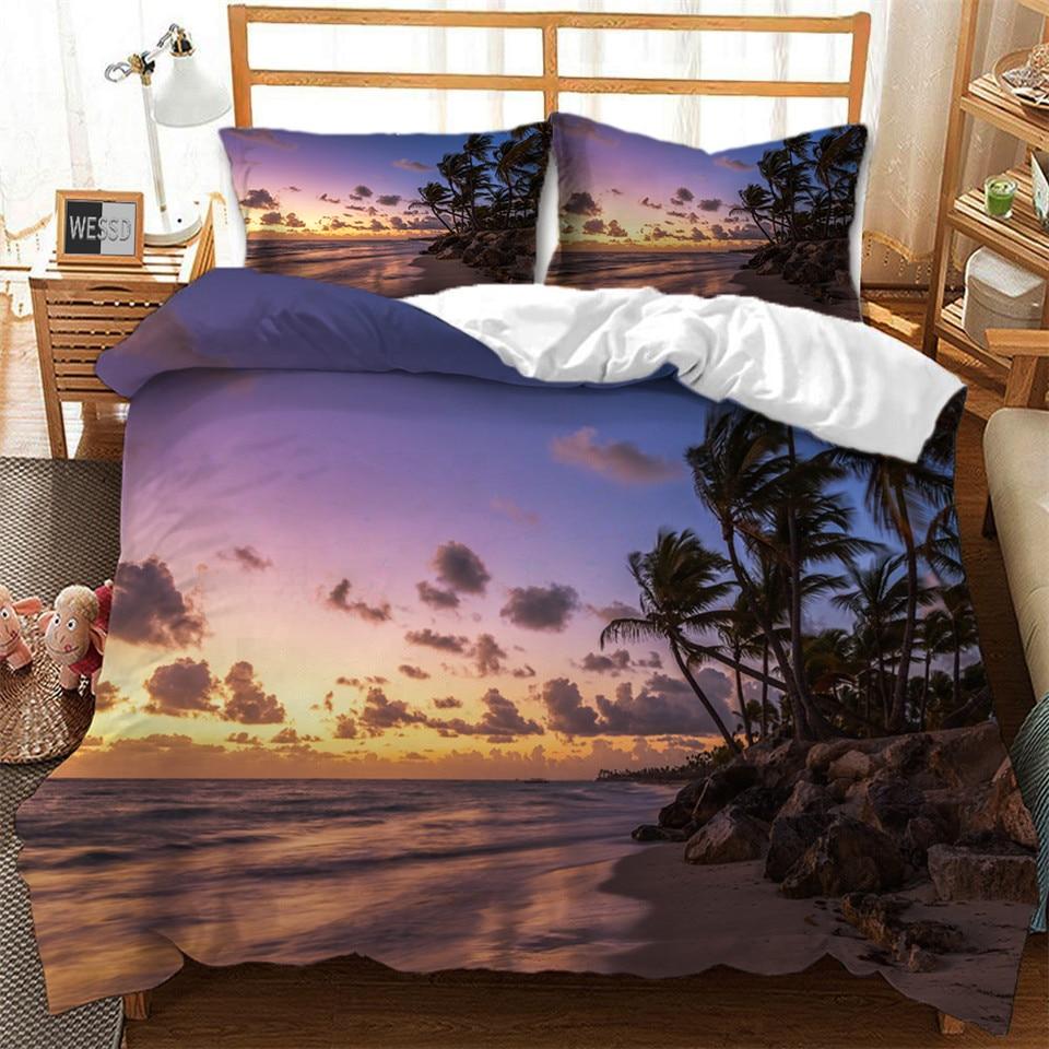 Palm Tree Sea  Beach Quilt Cover And Pillowcase Bed Set 3D Tropical Landscape Duvet Cover Set Single Double People Bed Linen