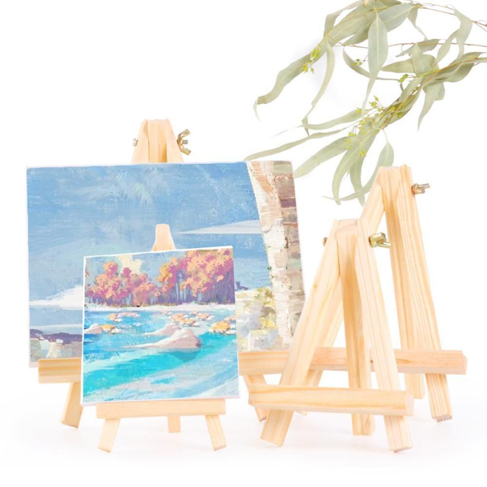 Mini Canvas And Natural Wood Easel Set For Art Painting Drawing Craft Wedding Supply Educational Toys For Children