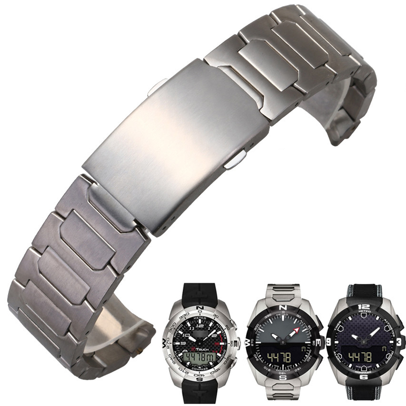 Titanium Bracelet Watchbands For T013420A T-Touch T013/T091420A Stainless Steel Solid Band Folding Buckle Man 21/22mm