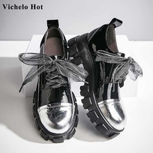 Vichelo Hot genuine leather mixed colors round toe thick bot