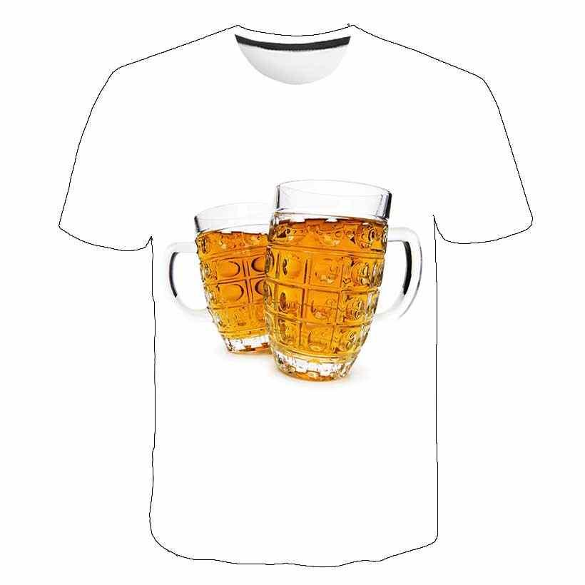 Gelb schaum sommer bier digitale 3D druck t-shirt männer und frauen rundhals kurzarm T-shirt lässige mode T-shirt