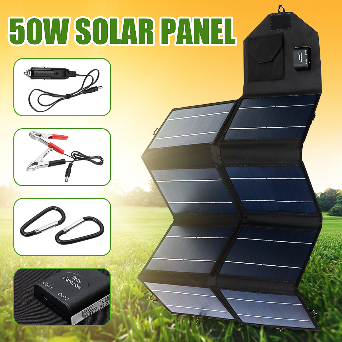 Portable 50W 12V Solar Panel Dual USB Folding Waterproof Charger Mobile Power Bank For Phone Battery Port For Outdoor Activitie