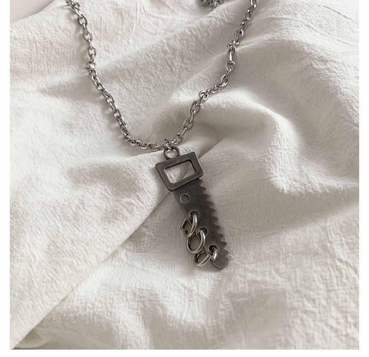Neue Punk Kühlen Harajuku Geometrische Kettensäge Kreis Hüfte Pop Distressed Legierung Lange Kette Halskette Für Frauen Männer Schmuck Geschenke