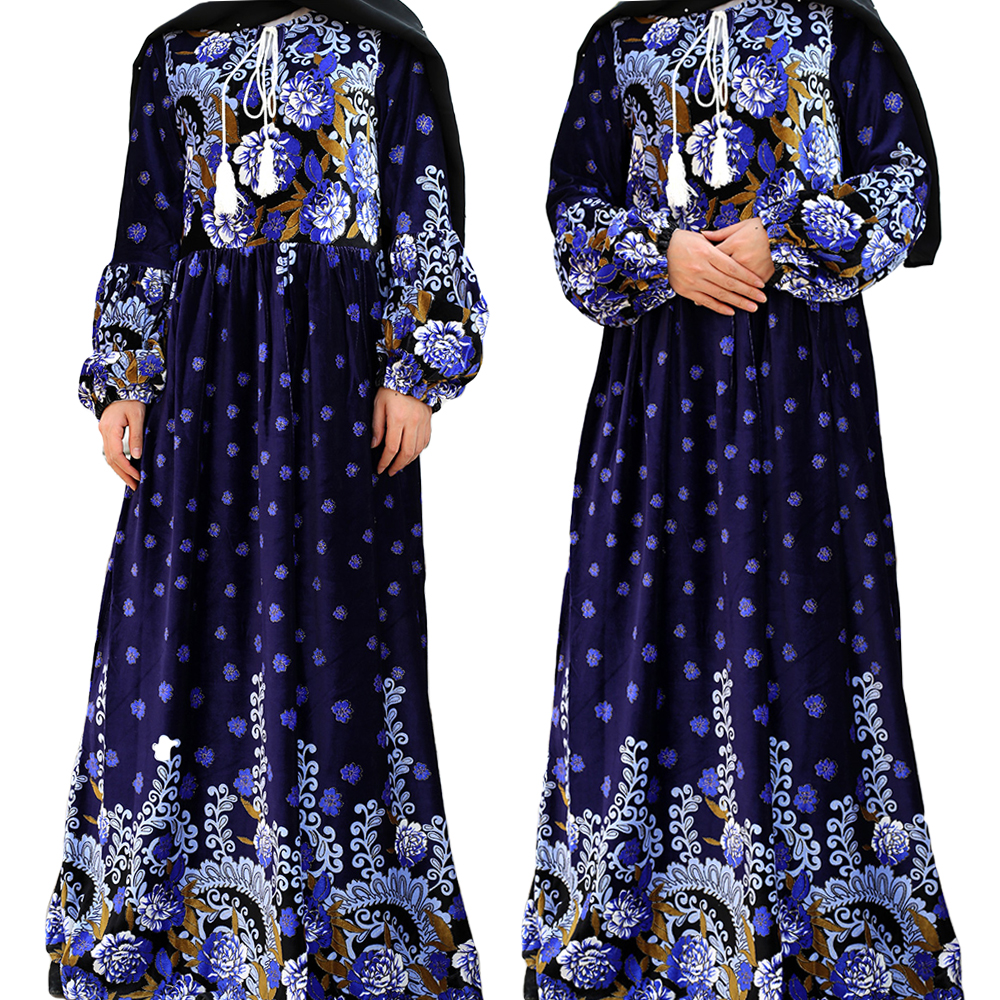 Plus Size Abaya Velvet Long Dress Muslim Women Maxi Jilbab Kaftan Floral Print Cocktail Gown Party Robe Arab Loose Abayas Dubai