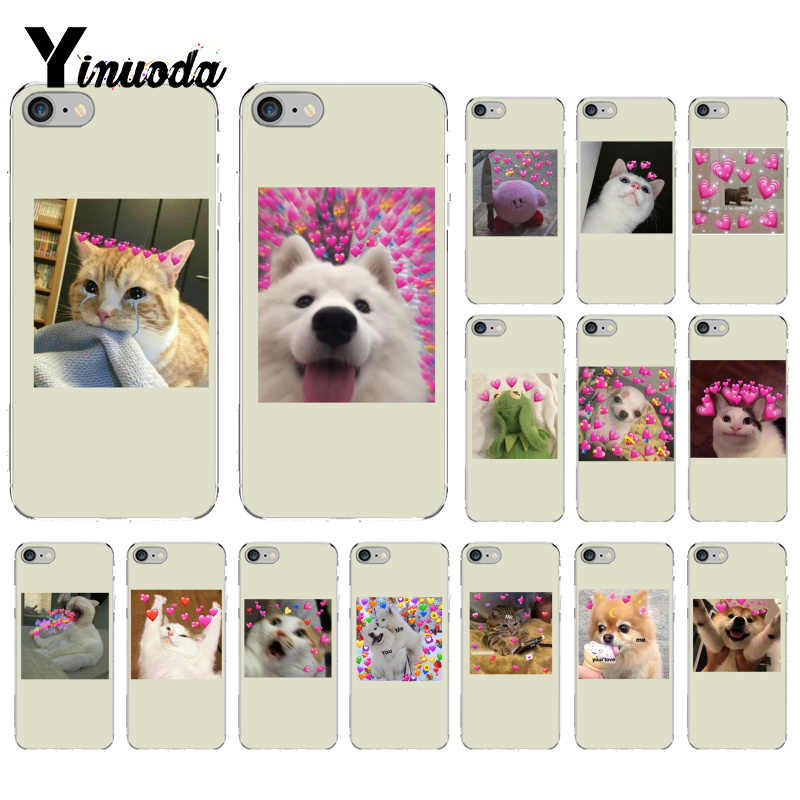 Yinuoda super cute cat dog cartoon pink Heart-shaped YOU&ME  Soft Phone Case for iPhone 8 7 6 6S Plus 5 5S SE XR X XS MAX 10