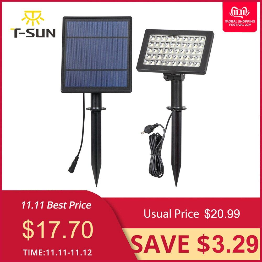 T SUNRISE, Солнечный Прожектор, 50 светодиодный, наружное освещение, регулируемый угол, солнечная садовая лампа, IP44, водонепроницаемая, охранная лампа для сада-in Светодиодные солнечные лампы from Лампы и освещение