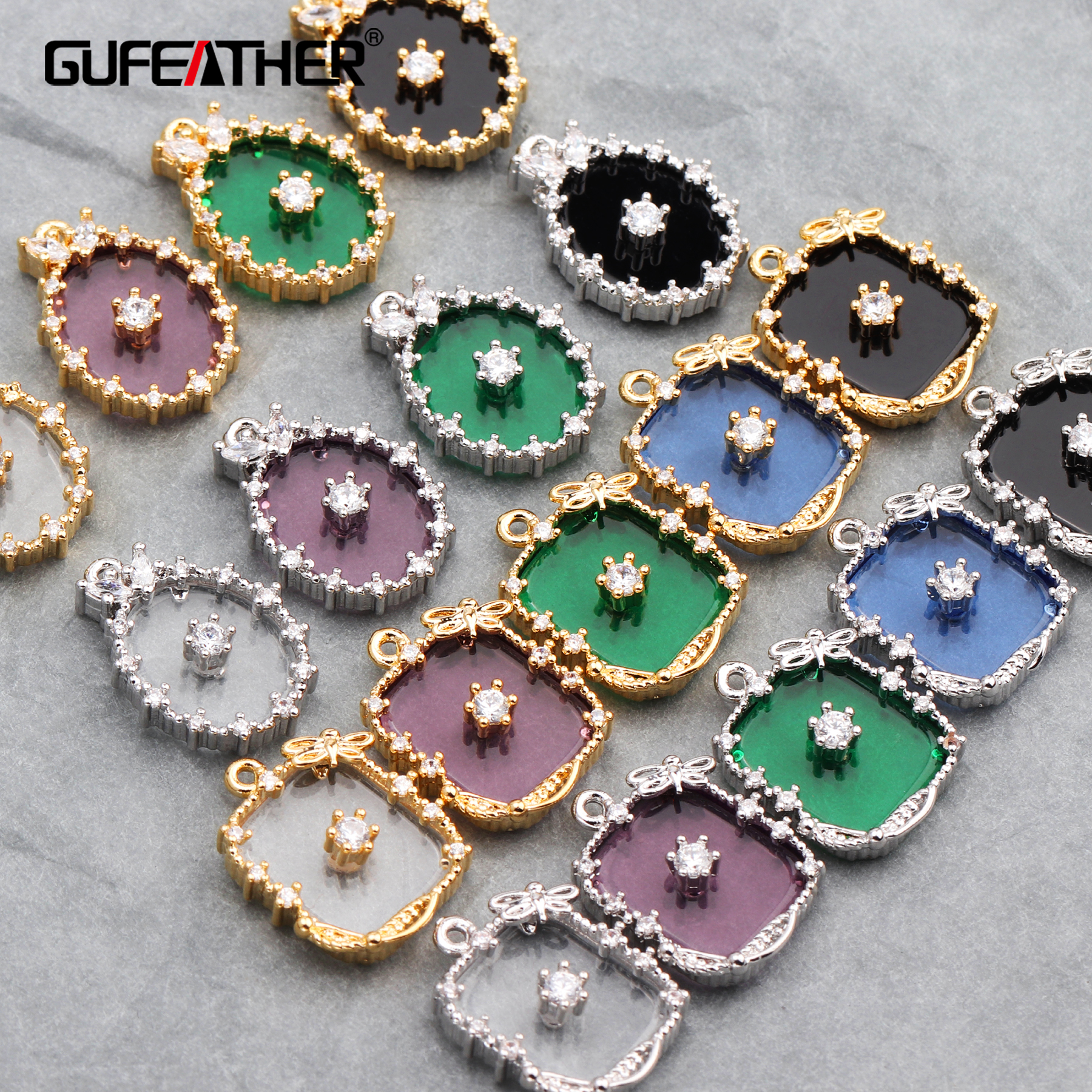 GUFEATHER M582,jewelry Accessories,18k Gold Plated,diy Zircon Pendant,jump Ring,hand Made,diy Earring,jewelry Making,6pcs/lot