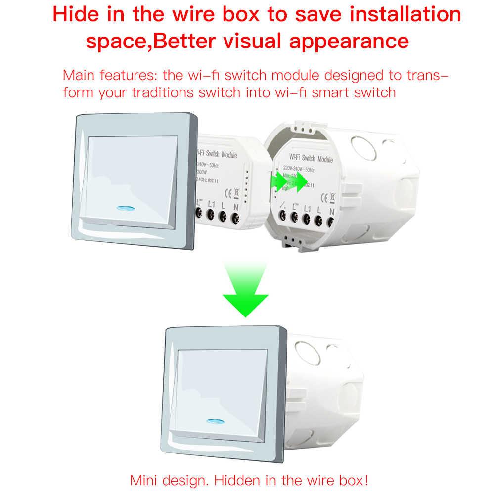 Wifi akıllı ışık anahtarı Diy kesici otomasyon modülü akıllı ömrü/Tuya APP uzaktan kumanda, alexa Google Home ile çalışır 1/2 yollu