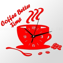 3D DIY Acrylic Wall Clock Modern Kitchen Home Decor Coffee Better Time Clock Cup Shape Digital Wall Clock Sticker Hollow Numeral