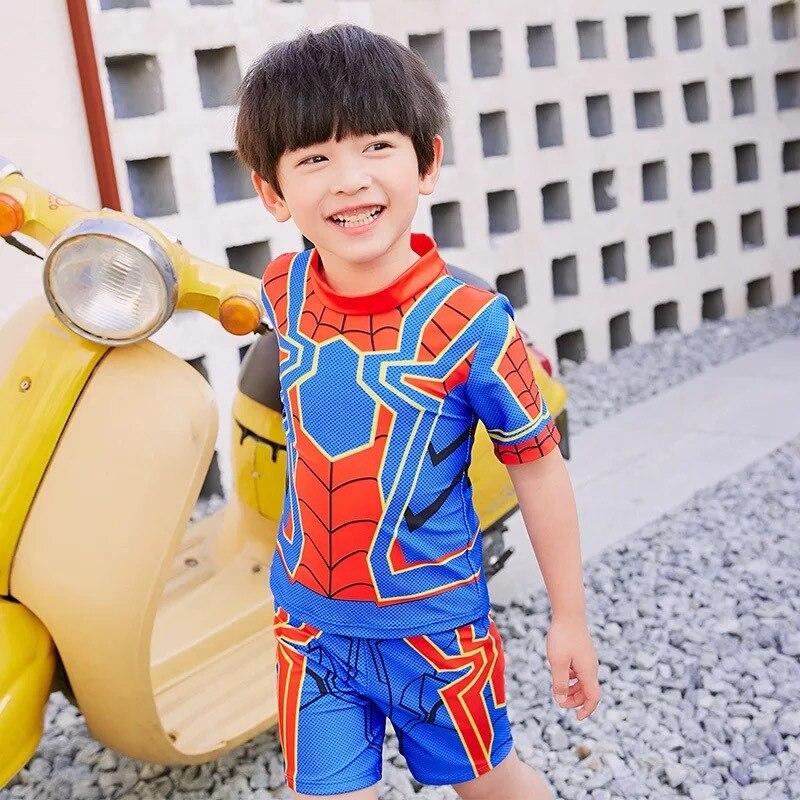 New Style Set Children Split Type Swimsuit Spider-Man Cartoon BOY'S Sun-resistant Children Hot Springs Swimwear Infants
