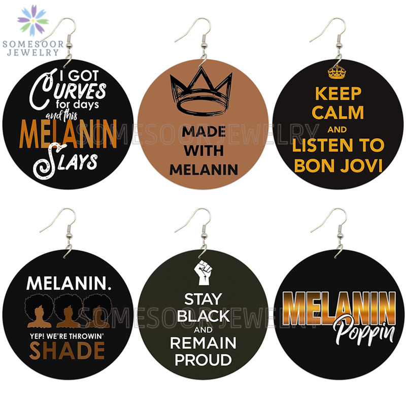 SOMESOOR Melanin Power Sayings African Wooden Drop Earrings Proud Crow Black Throwin Shade AFRO Printed Wood Jewelry For Women