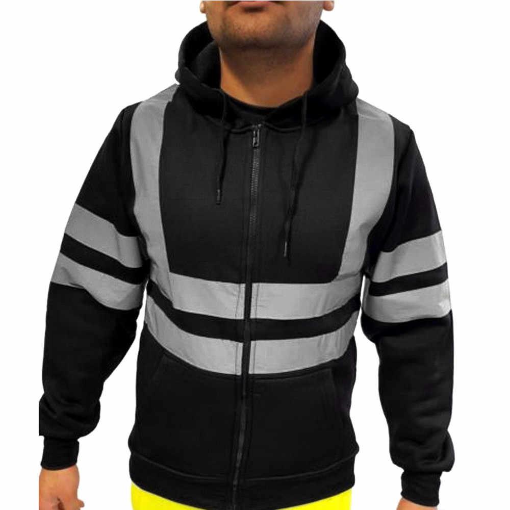 JAYCOSIN Men's Coats Hooded Sweatshirt Man Tops Road Work High Visibility solid Long Sleeve male coat zipper casual autumn top