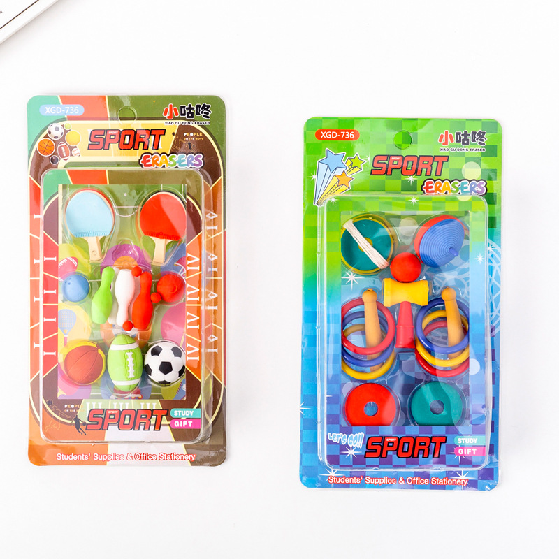 8 Set/lot  Football Basketball Hoop Top Sport Blister-card Eraser / Rubber Eraser Suit / Student Eraser/toy Children Gift/statio
