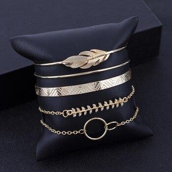 5Pcs/set Bohemian Gold color Moon Leaf Crystal Opal Open Bracelet Set for Women Punk Boho Beach Bangle Jewelry Gift 6