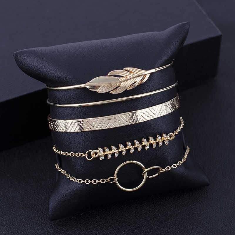 Moduł 5 sztuk/zestaw czeski złoty kolor księżyc liść z kryształami Opal otwarte bransoletka zestaw dla kobiet Punk Boho plaża bransoletka bangle na prezent