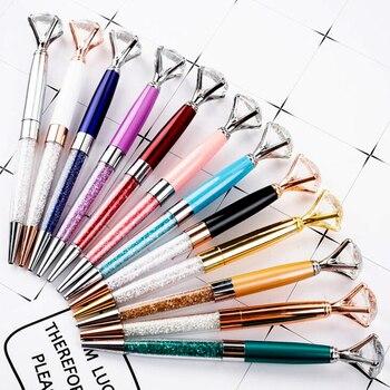 100pcs/lot 12 Color Crystal Ballpoint Pen Creative kawaii Metal Ballpen for Writing Stationery Office & School Pen wedding gifts