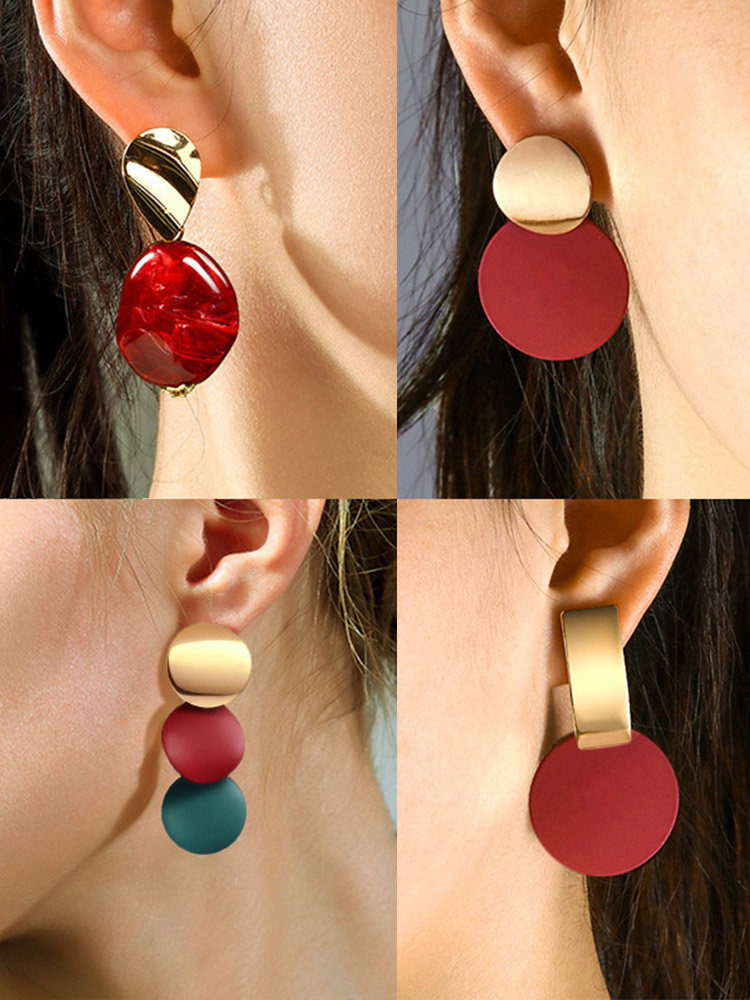 H4c65e092d4034278ac3eda1bde0baa51d - New Statement Drop Earrings For Women Fashion Gold Earrings Acrylic Geometric Red Dangle Earring Wedding Brinco Jewelry