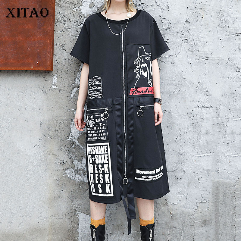 XITAO Tide Letter Print Plus Size Dress Women Patchwork Pocket Personality Korean Fashion O Neck Match All Summer 2019 DLL3176 1