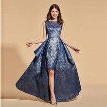 Tanpell  Elegant Prom Dress 2019 Customized High Low Backless Lace Evening Party Dresses Vestido de Festa Longo