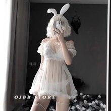 ชุดชั้นในเซ็กซี่Bunnyคอสเพลย์Nightdressผู้หญิงโปร่งใสลูกไม้ชุดสีดำสีขาวน่ารักเร้าอารมณ์Sleepwear Lolitaชุด