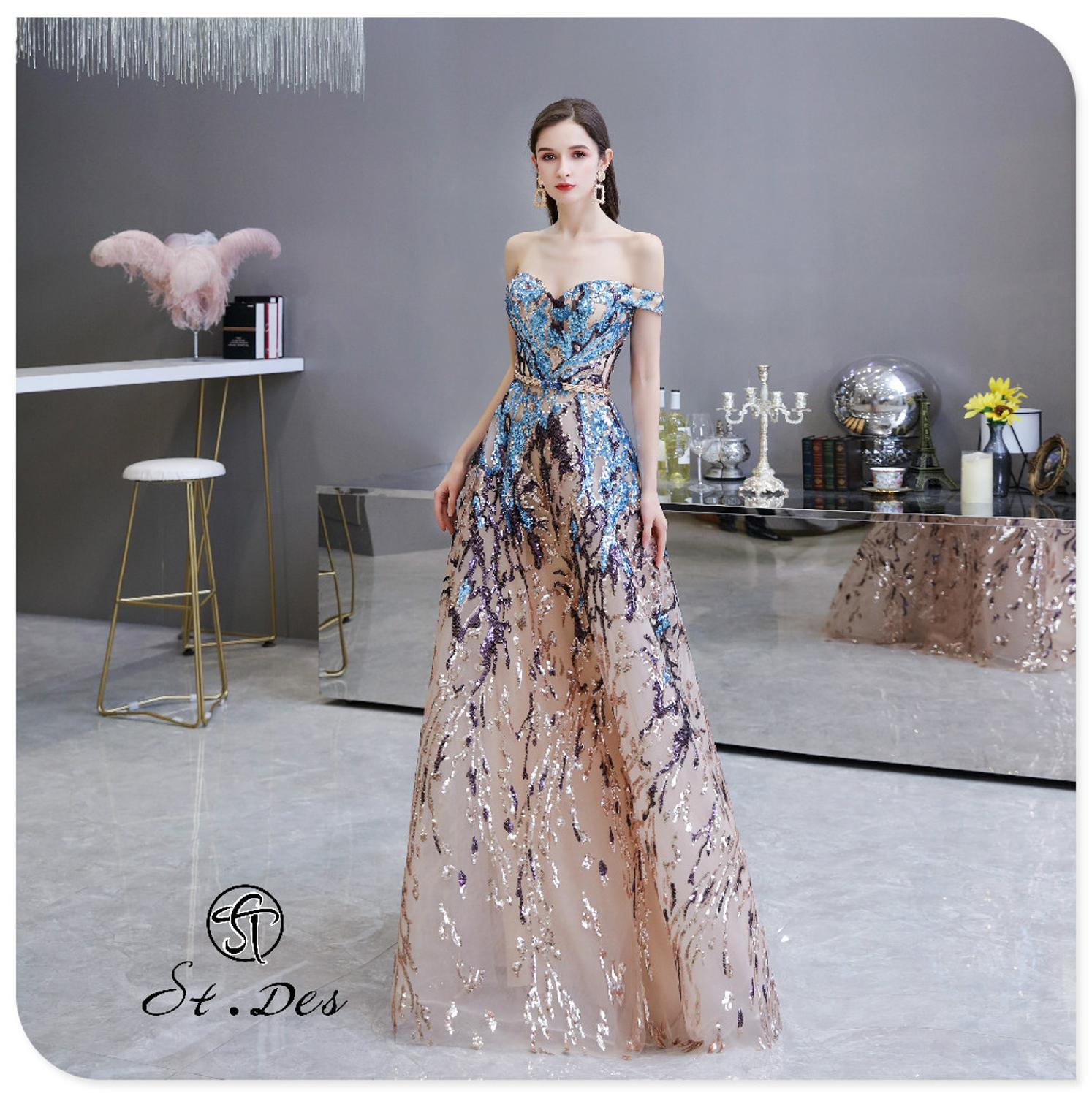 S.T.DES Evening Dress 2020 New Arrival Sweatheart Off-shoulder A-line Lace Sleeveless  Floor Length Party Dress Dinner Gowns