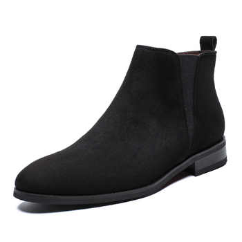 England style men fashion chelsea boots point toe cow leather shoes outdoors ankle short boot zapatos de hombre bota masculina