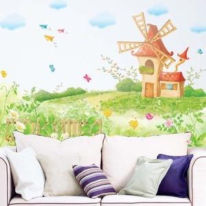 Мультфильм гасленд ветряная мельница дом бабочка птица небо облако наклейки на стену для детей комнаты мальчики девочки дети спальня домаш...