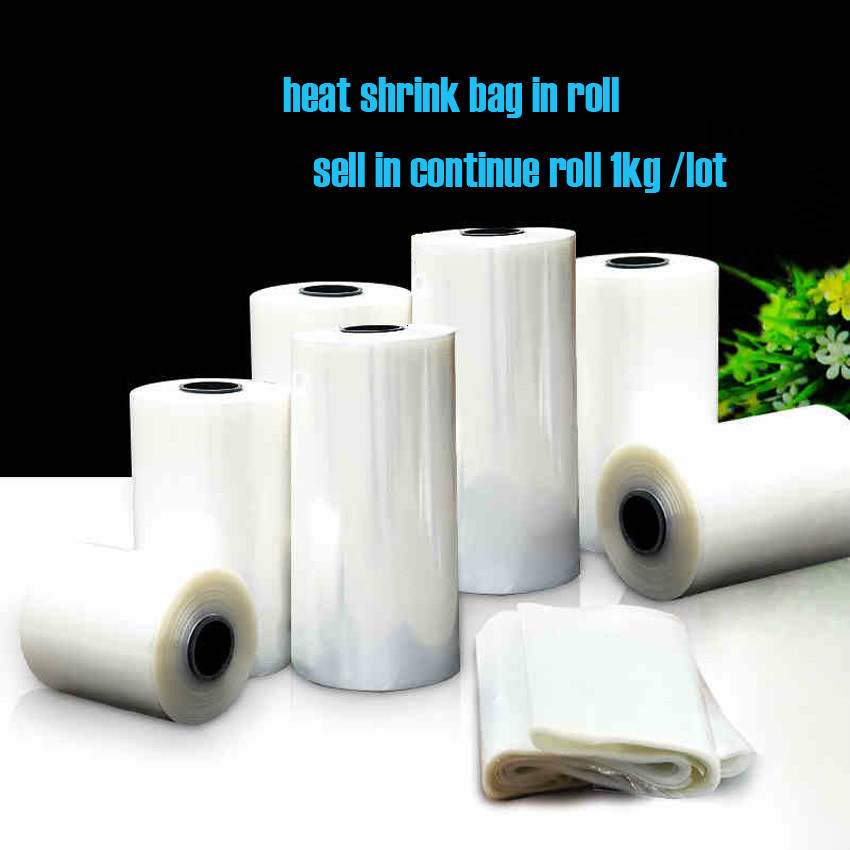1kg/roll 5/6/7/~ 32cm widths PVC Heat Shrink Wrap tube wholesale in roll Clear Plastic Polybag Gift Cosmetics Packaging DIY cut(China)