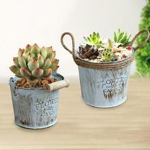 2 uds Vintage Chic Metal artesanías cuerdas de cáñamo cordones atados cubos de hierro decoración de macetas ornamentos suculentas macetas para plantas