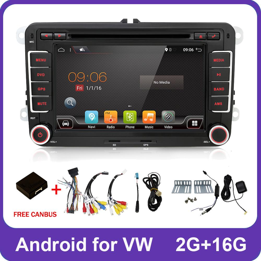 2 Din Quad Core Android 8.1 Car Dvd Player Aux Gps Stereo For Volkswagen Skoda POLO GOLF 5 6 PASSAT CC TIGUAN TOURAN Fabia Caddy