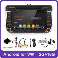 2 Din Quad Core android 8.1 car dvd player Aux gps Stereo For Volkswagen Skoda POLO GOLF 5 6 PASSAT CC TIGUAN TOURAN Fabia Caddy(China)