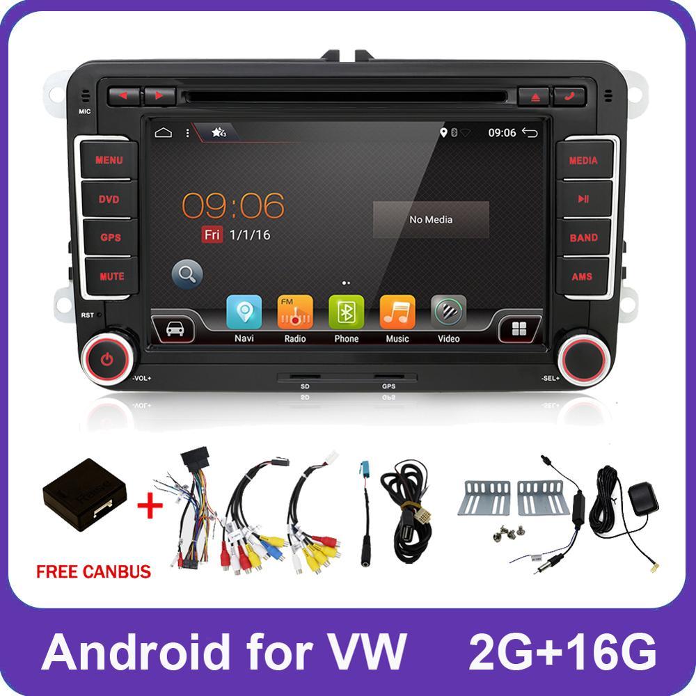 2 Din Quad Core android 8.1 jogador do carro dvd gps Aux Estéreo Para Volkswagen POLO Skoda GOLF 5 6 PASSAT CC TIGUAN TOURAN Caddy Fabia