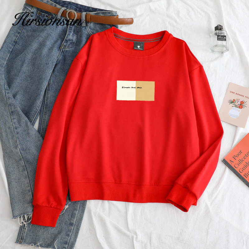Hirsionsan Cotton Graphic Sweatshirt Women Spring New Letter Printed Pullovers Casual Harajuku Kawaii Tops Korean Loose Clothing