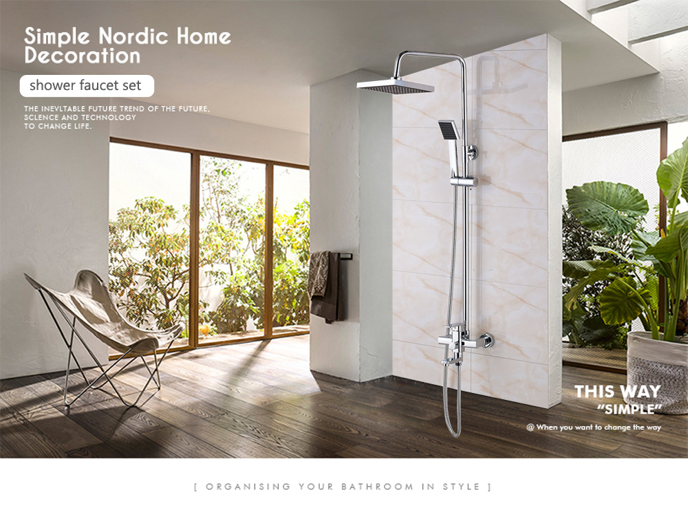 H4c66782e7fe846d8a004f6e2de1af82dh POIQIHY Black Bathroom Shower Faucet Set Wall Mount Black 8''Rainfall Shower Head With Handheld Sprayer Bathtub Shower Mixer