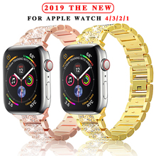 Stainless steel strap for Apple Watch 40mm 44mm 38mm 42mm ladies diamond band iWatch series 5 4 3 2 1 bracelet