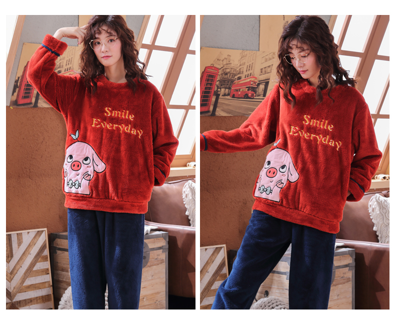 Long Sleeve Warm Flannel Pajamas Winter Women Pajama Sets Print Thicken Sleepwear Pyjamas Plus Size 3XL 4XL 5XL 85kg Nightwear 344