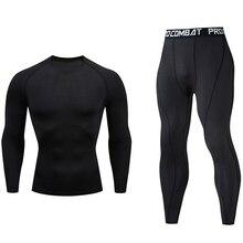الرجال الصالة الرياضية الملابس بدلة عدو ضغط MMA rashgard الذكور طويل جونز الشتاء ملابس اخلية حرارية بدلة رياضية ماركة الملابس 4XL