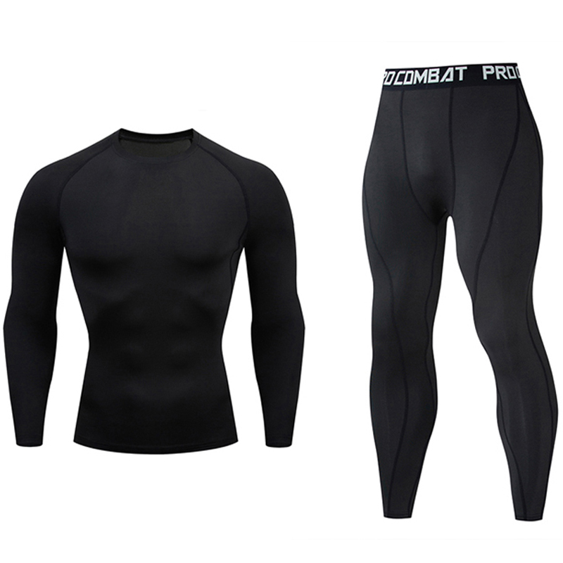 Men's Gym Clothing Jogging Suit Compression MMA Rashgard Male Long Johns Winter Thermal Underwear Sports Suit Brand Clothing 4XL
