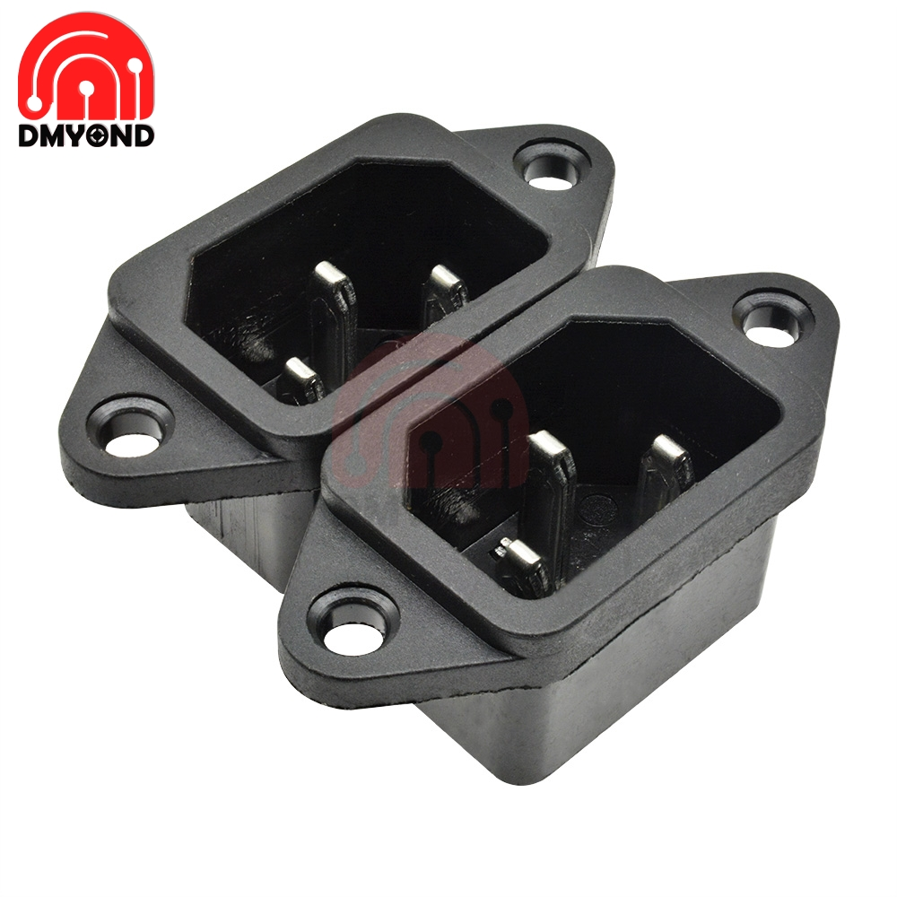 5PCS AC 250V Power Socket 3 pin With Ears For Electric Car Computer Power Socket Screw Fixed Copper Core